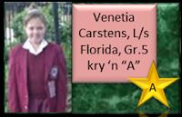 Venetia Carstens, Laerskool Florida, Roodepoort, Gr.5 kry 'n A vir haar aanbieding van 'n redenaarstoespraak onder die ATKV se 2013 tema OMGEWING
