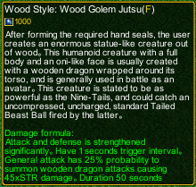 naruto castle defense 6.3 Wood Golem Jutsu detail