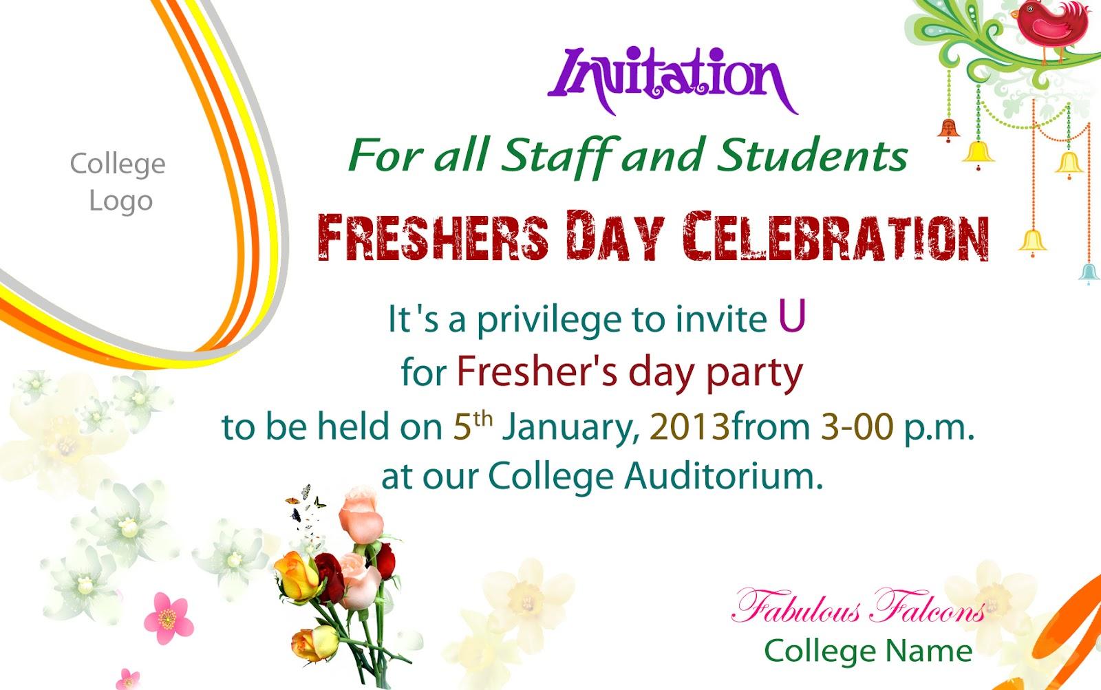 Freshers day celebration invitation stopboris Image collections