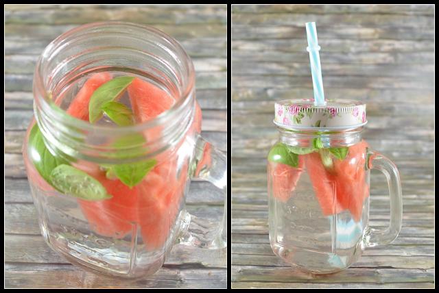 Detox Water mit Melone und Basilikum