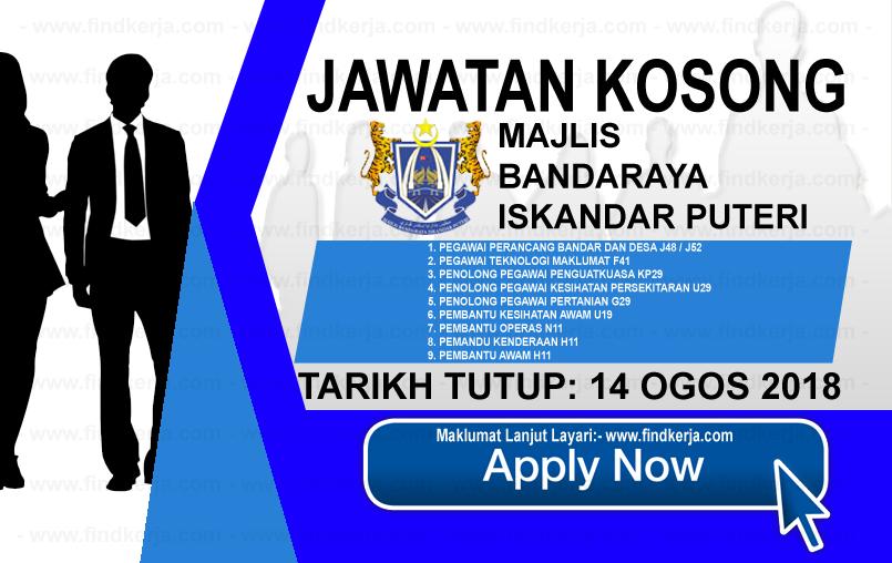 Jawatan Kerja Kosong MBIP - Majlis Bandaraya Iskandar Puteri logo www.ohjob.info www.findkerja.com ogos 2018