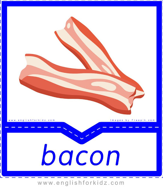 Bacon - English food flashcards for ESL students