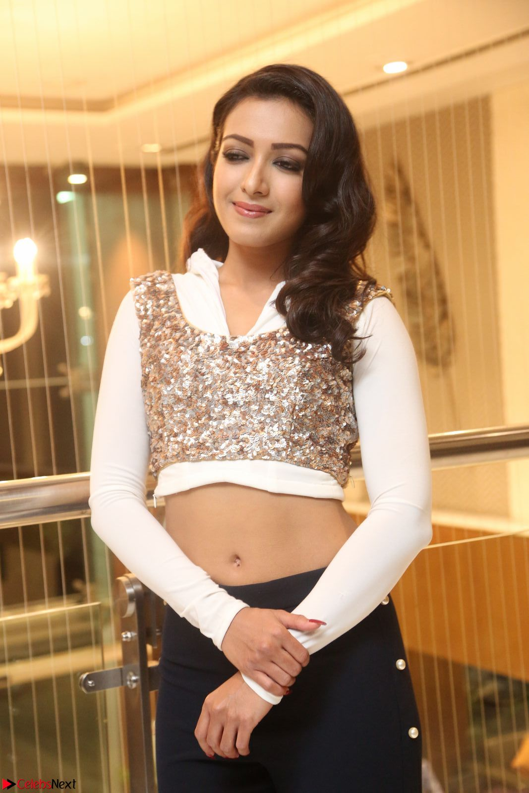 Catherine Tresa in a White Glittering Crop Top Black Leggings at Gajendrudu music launch 6th April 2017