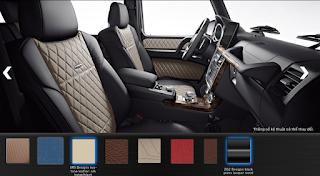 Nội thất Mercedes G500 2018 màu Đen / Vàng Beige SR5