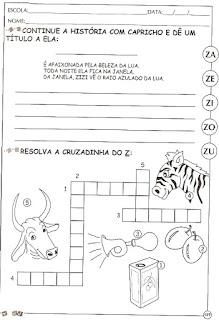 Atividades alfabetização com a letra Z