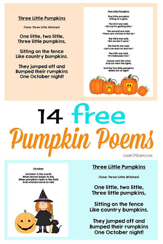 14 fabulous and free pumpkin poems for K-3. Ready to print and use right now!