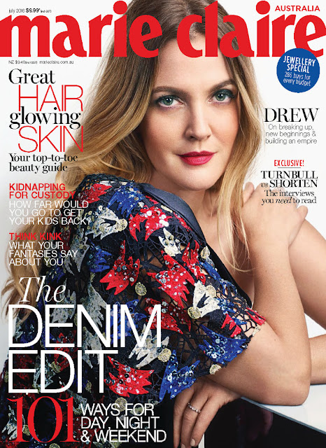 Actress, Model, @ Drew Barrymore - Marie Claire Australia, July 2016