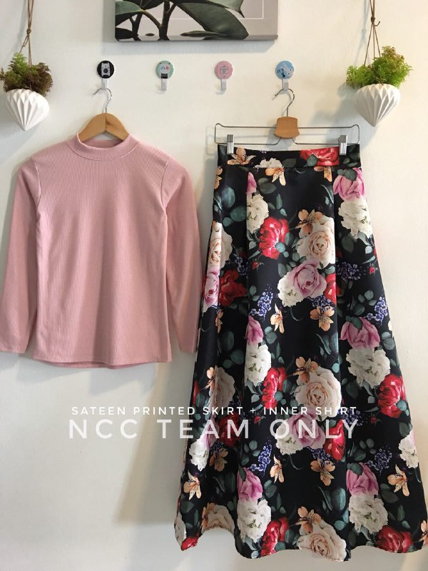 SATEEN PRINTED SKIRT + INNER SHIRT