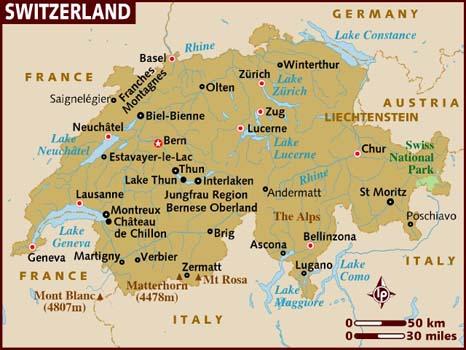 La Svizzera Cartina.Svizzera Mappa Citta Di Provincia Svizzera Stato Cartina