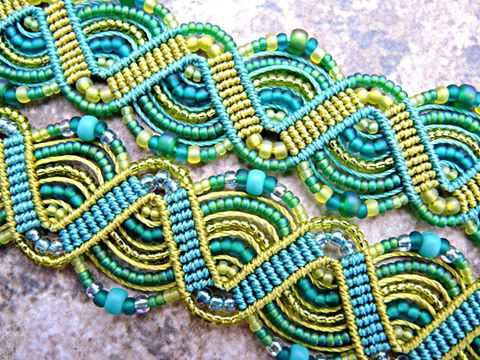 Lime and aqua micro macrame with beads.