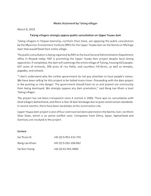 Media Statement by Talong villager