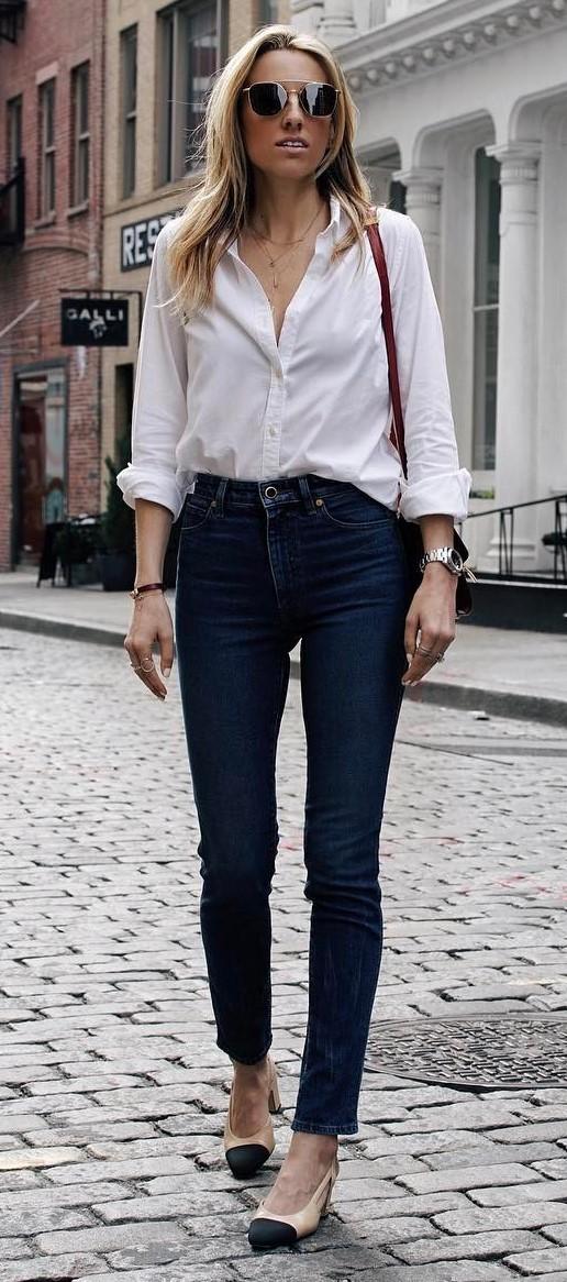simple outfit idea: shirt + jeans + bag