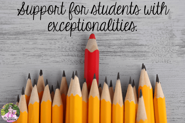 "Photo of pencils with one red pencil with text, ""Support for students with exceptionalities."""