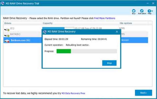cara mengubah RAW menjadi NTFS