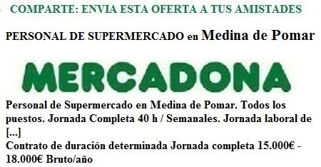 Medina de Pomar, Burgos. Lanzadera de Empleo Virtual. Oferta Mercadona