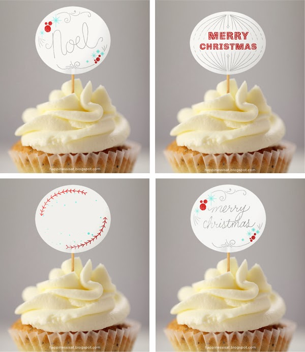 Happiness is… free printable Christmas cupcake toppers and gift tags