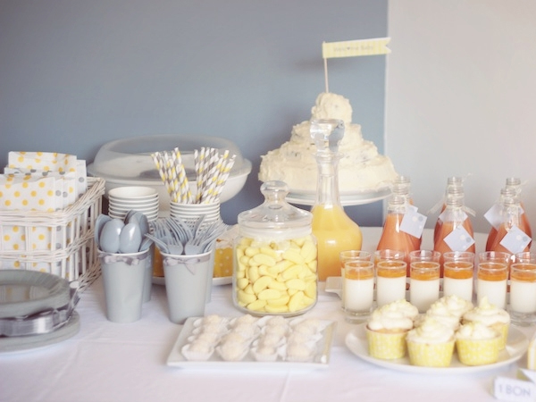 sweet table jaune gris blanc