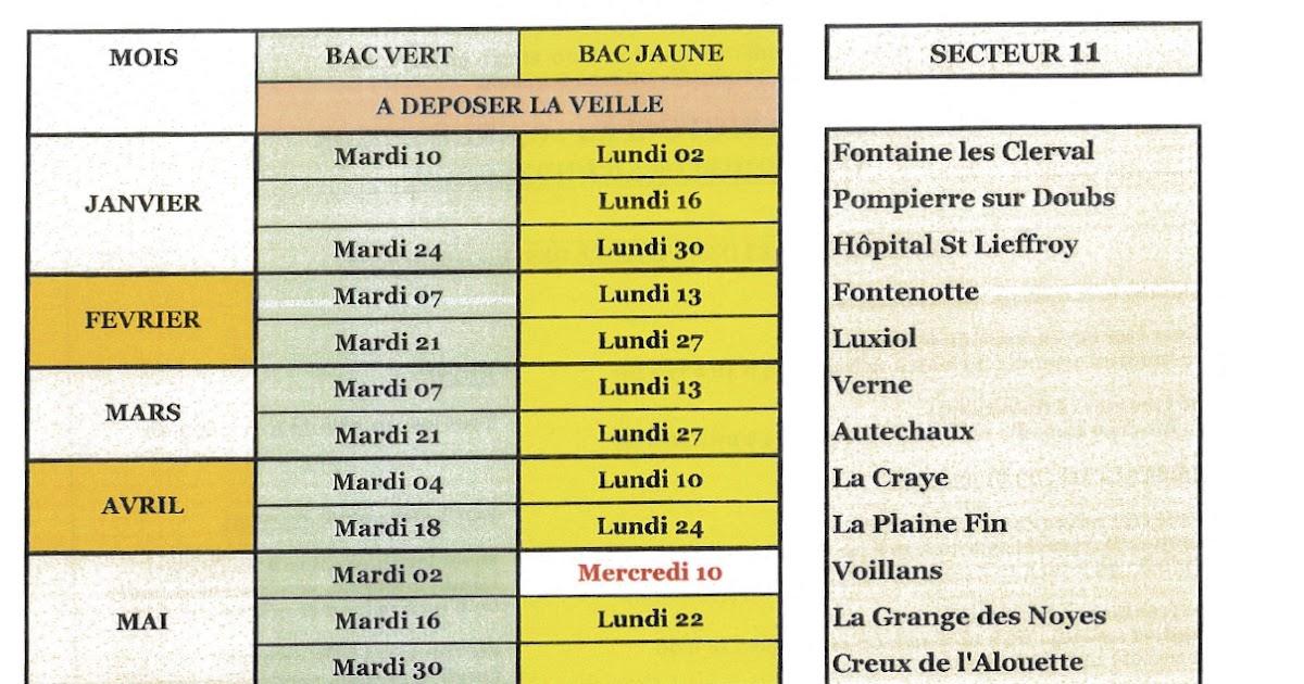 Calendrier Sictom.Voillans Village Du Doubs Site Officiel Calendrier Des