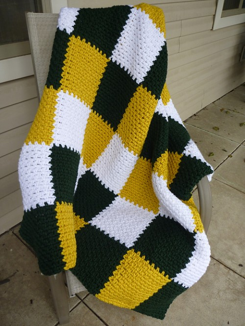 Green & Gold Modern Patchwork Blanket - Free Pattern