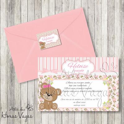 convite aniversário infantil personalizado artesanal 1 aninho ursinha urso ursinho floral delicado rosa vintage provençal menina bebê jardim encantado festa envelope adesivo tag