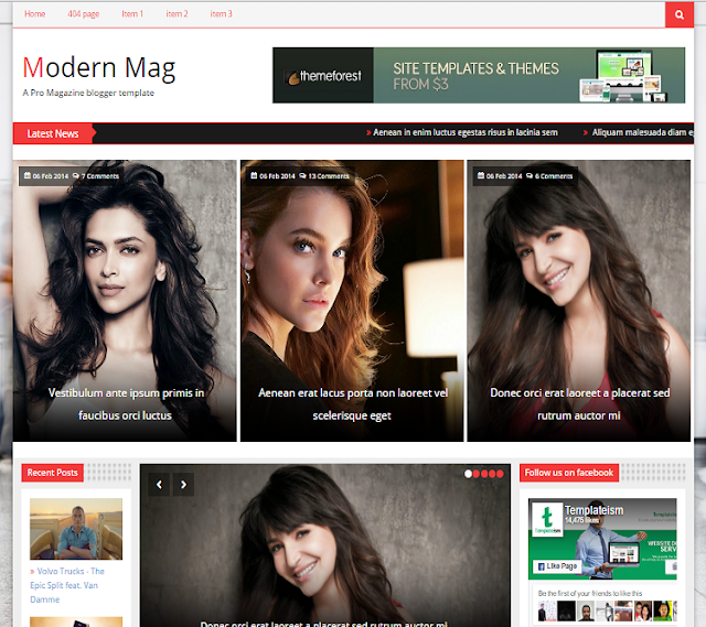Modern Mag Magazine Blogger Template