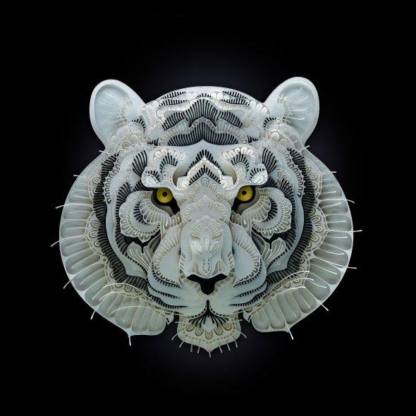 Patrick Cabral behance arte animais papel cortado espécies ameaçadas extinção wwf Tigre
