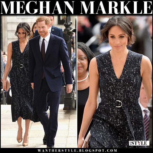 Meghan Markle wore black printed belted midi dress hugo boss deleara april 23 royal fashion