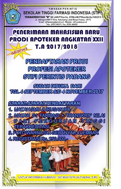 PENERIMAAN MHS BARU APOTEKER ANGKATAN XXII T.A 2017-2018