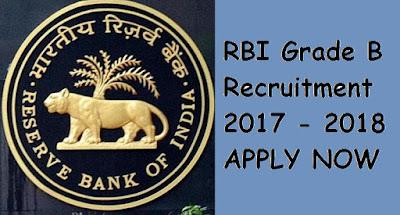 RBI Grade B Recruitment 2017 - 2018