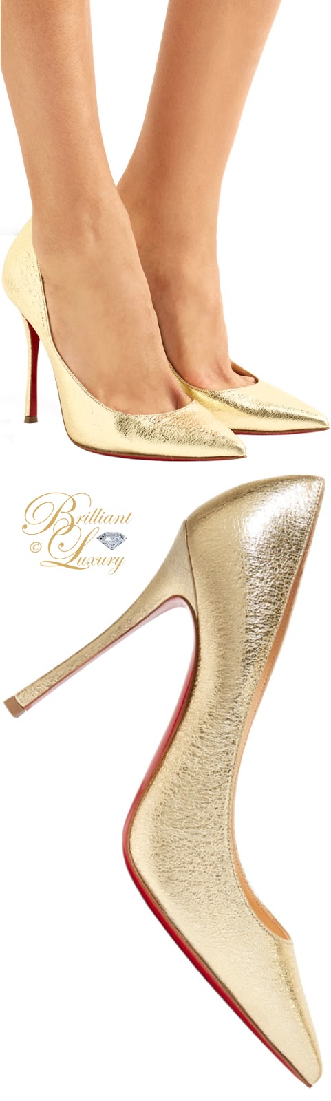 Brilliant Luxury ♦ Christian Louboutin Decoltish textured-leather pumps