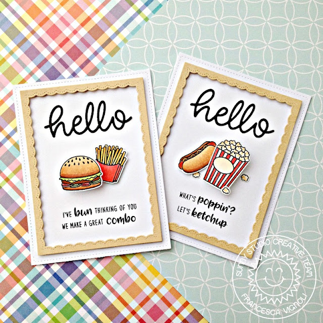 Sunny Studio Stamps: Fast Food Fun Fancy Frames Hello Punny Interactive cards by Franci Vignoli