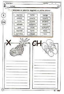Atividade ortografia alfabetização x e ch
