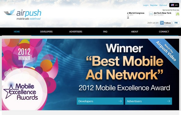 Airpush mobile ad network