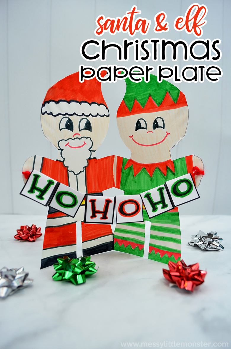 Santa craft and Elf craft. A fun and easy Christmas craft for kids. Christmas paper plate craft.