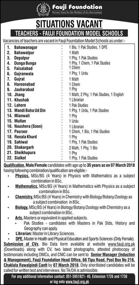 Fauji Foundation Jobs in Multiple Cities 2018