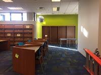 Empty new book shelves