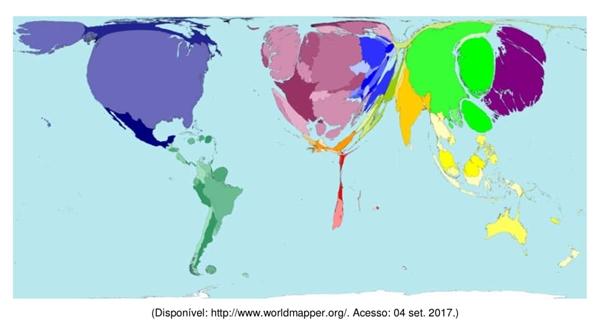 o mapa abaixo é uma anamorfose relacionada ao uso da internet no mundo