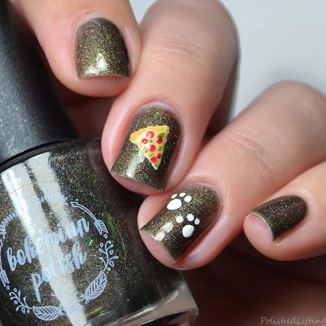 pizza cat themed nail art