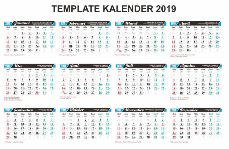 kalender 2019 pdf gratis dan lengkap dengan tanggal merah anditekno. Black Bedroom Furniture Sets. Home Design Ideas