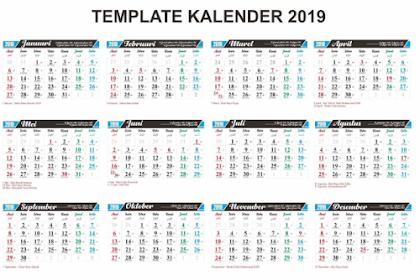 Kalender 2019 PDF Gratis dan Lengkap dengan Tanggal Merah