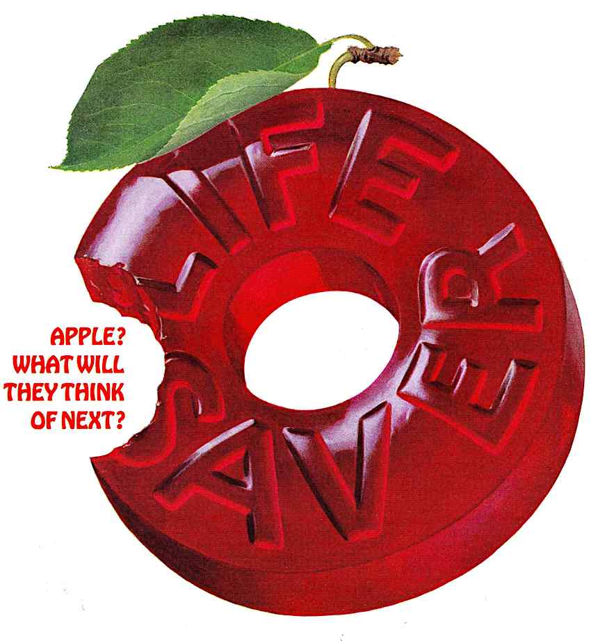 1965 Life Savers candy advertising illustration, red apple flavour