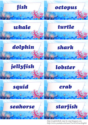 sea animals flashcards alongside words