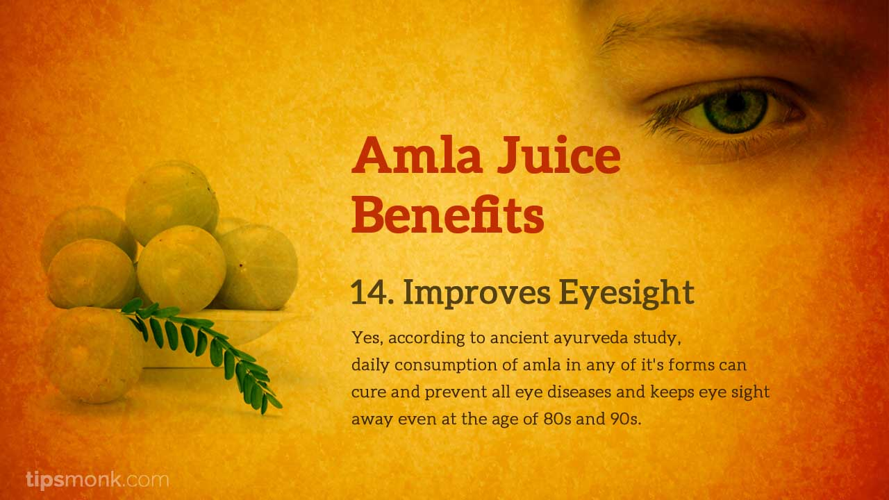 Amla juice benefits for eye sight - Tipsmonk