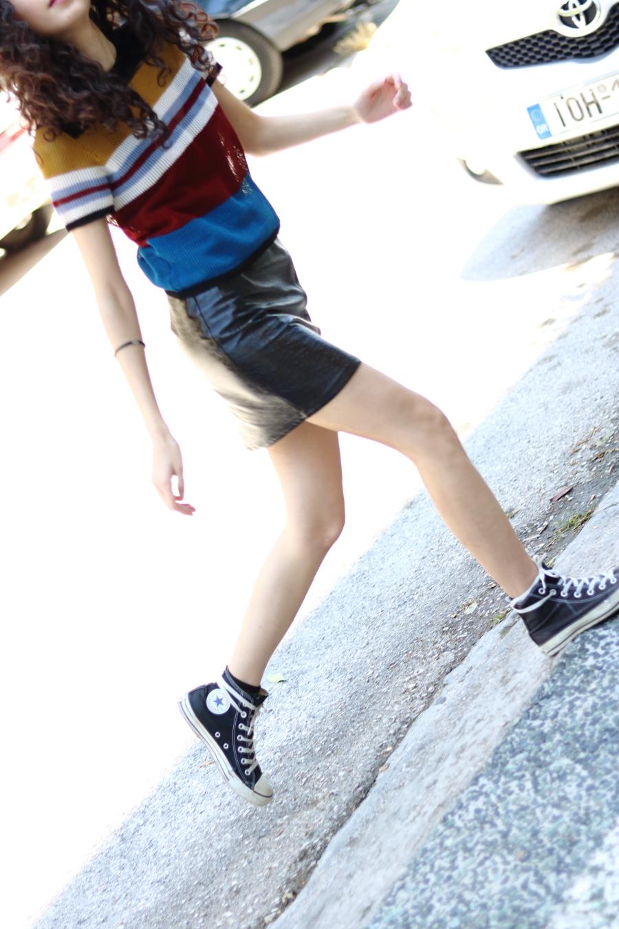 vinyl skirt for summer   bare legs   confidence boost   www.theblushfulhippocrene.blogspot.com  