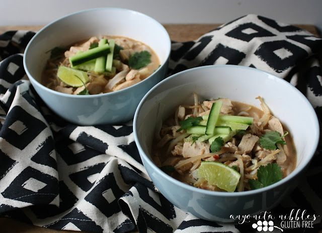 Gluten free and dairy free quick chicken laksa