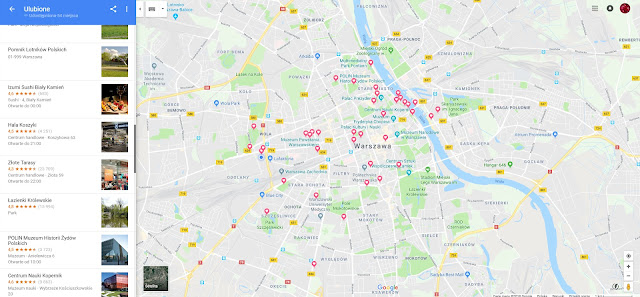 mapa Warszawy - noowoczesna Warszawa