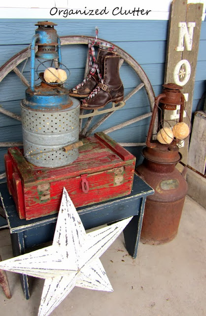 Junky, Rustic Winter Covered Patio Vignette www.organizedclutterqueen.blogspot.com