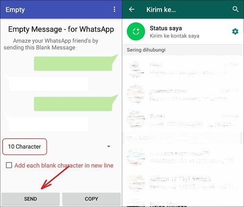Cara Mengirim Pesan Kosong (Blank Text) di WhatsApp