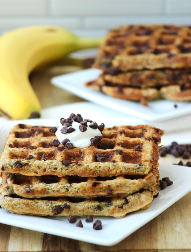 Flourless Banana Chocolate Chip Waffles
