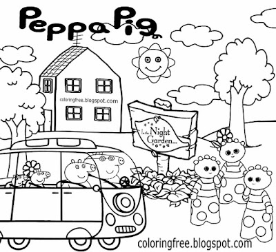 British preschool easy ideas for colouring Peppa pig drawing pictures in the night garden characters
